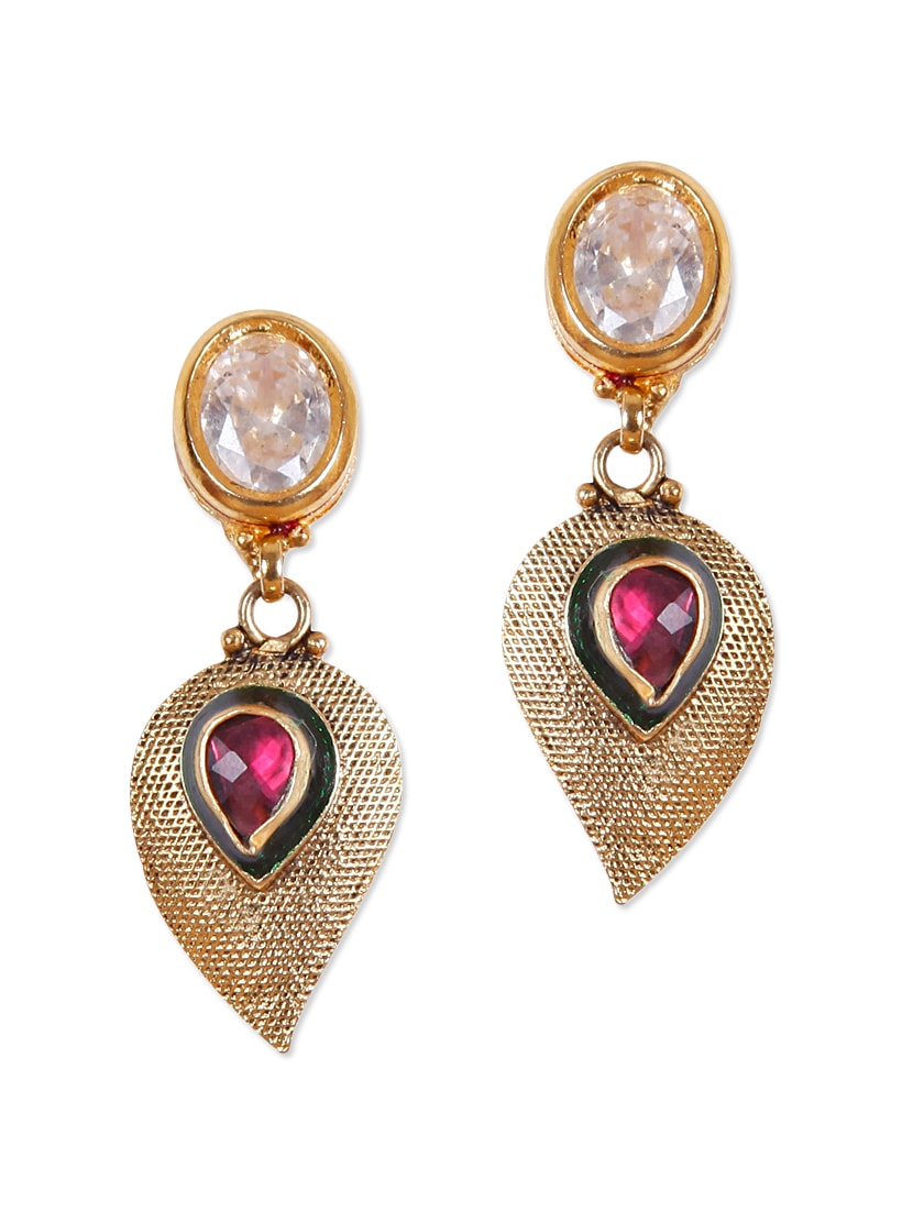 Fancy Drop Earrings With Red Stone And American Diamond - Rajwada Arts