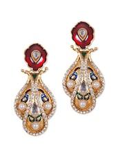 Fancy Multicolour Earrings With Red Enamel - Rajwada Arts