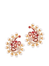 Red And Gold Studs With White Pearls - Rajwada Arts