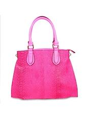 Bright Pink Snake Skin Patterned Glossy Finish Tote Bag - Di Tutti