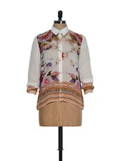 White Elegant High-collared Neck Shirt With Multi-coloured Digital Prints - Toscee