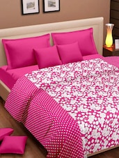 Bright Pink And White Polka Dotted And Floral Prints Cotton Dohar - Cortina