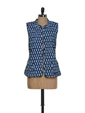 Reversible Cotton Jacket In Navy Blue And White - Feyona
