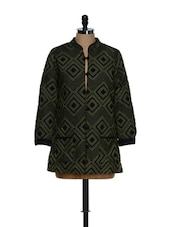 Polyester Lined Green Printed Jacket - Feyona