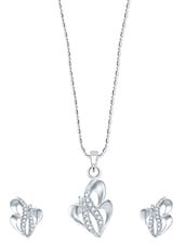 V B Design Rhodium Plated  Pendant Set With Earrings - VK Jewels