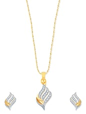 Well Crafted Gold And Rhodium Plated Pendant Set With Earrings - VK Jewels