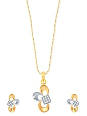 Incredible Gold And Rhodium Plated Pendant Set With Earrings - VK Jewels