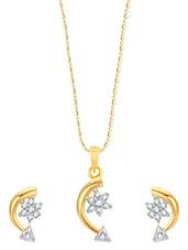 Arrow With Star Gold And Rhodium Plated Pendant Set With Earrings - VK Jewels