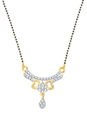 Graceful Two Heart Wedding Mangalsutra Pendant Gold And Rhodium Plated Pendant - VK Jewels