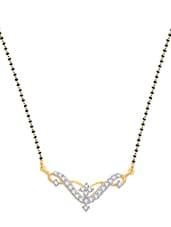 Artistic  Wedding Mangalsutra Pendant Gold And Rhodium Plated Pendant - VK Jewels