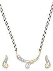 Classy Gold And Rhodium Plated Mangalsutra  Pendant Set With Earrings - VK Jewels