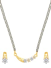 Finely Looking Gold And Rhodium Plated Mangalsutra  Pendant Set With Earrings - VK Jewels
