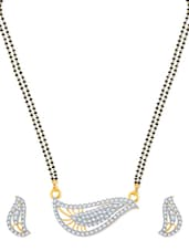 Shell Shaped Gold And Rhodium Plated Mangalsutra  Pendant Set With Earrings - VK Jewels