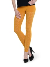 Patterned Mustard Seamless Leggings - TSG Breeze Treat