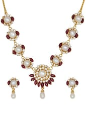 Gold Plated Necklace And Earrings With Acrylic Flowers And Pearl - Nisa Pearls