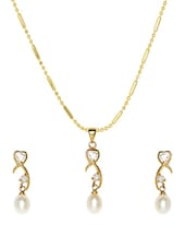 Gold And White Pearls Necklace And Earrings Set - Nisa Pearls