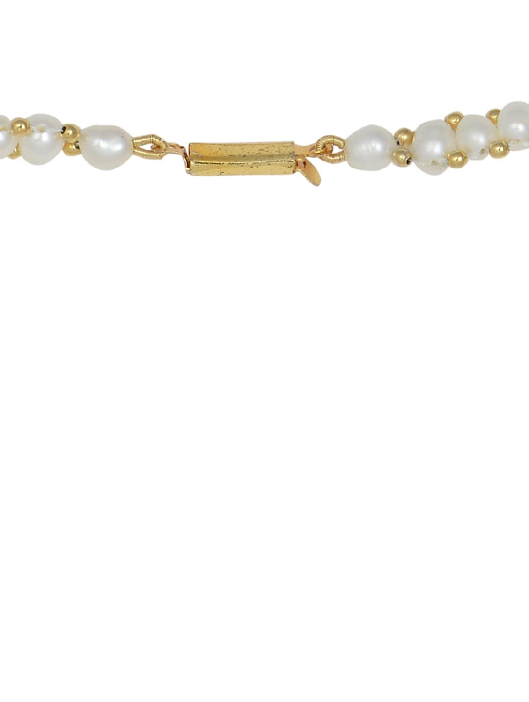 set of elegant white pearl necklace earrings and bracelet