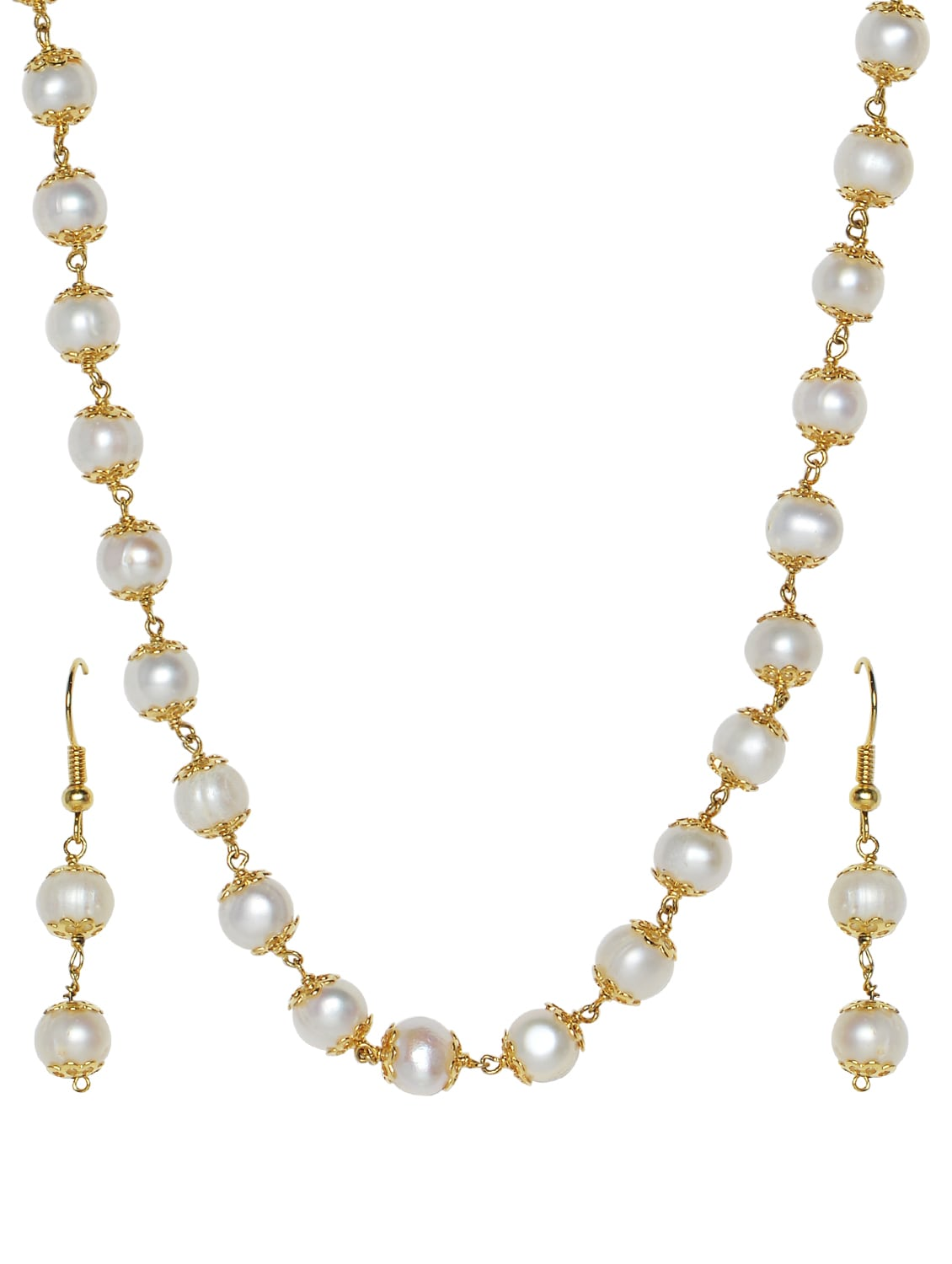 113043dedf88e White Pearl Beads Necklace and Earrings Set