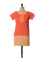 Ethnic Floral Print Orange Cotton Top - Little India