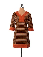 Black And Rust Printed Kurti - Little India