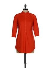 Bright Red Button Down Shirt Tunic - Femella