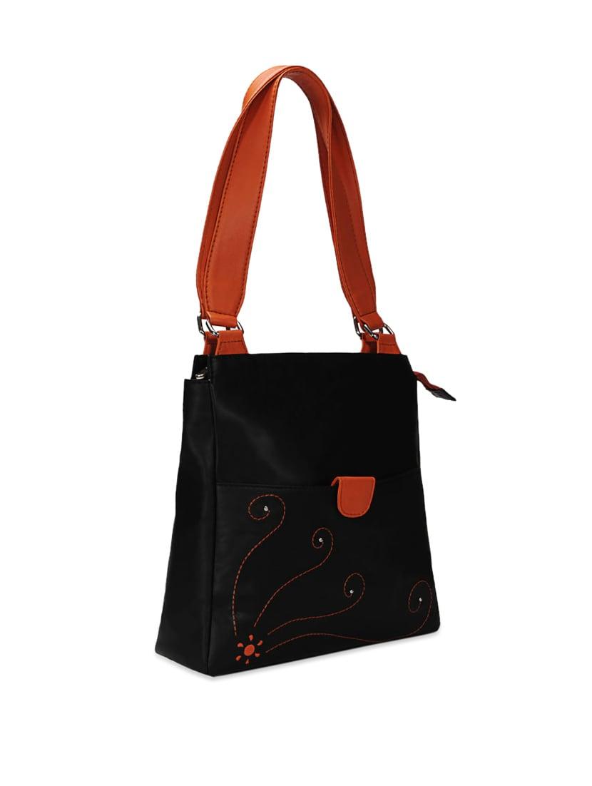 4661100f391c Buy Black Leather Handbag With Red Straps by Borsavela - Online ...