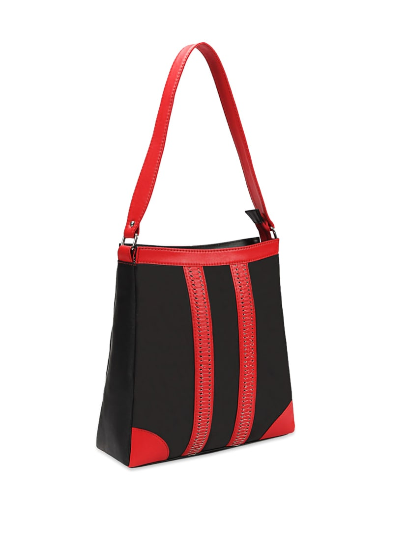 d59bc47529f5 Buy Lovely Black Leather Handbag With Red Straps by Borsavela - Online  shopping for Handbags in India