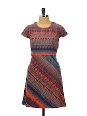 Blue And Orange Printed Half-sleeved Printed Dress - AKYRA
