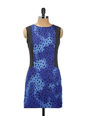 Blue Printed Dress With Black Sides - AKYRA
