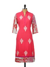 Bright Pink Printed Kurta With Grey Sleeves - AKYRA