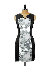 Black Bodycon With White And Grey Floral Prints - AKYRA