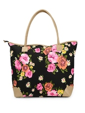 Black Base Trendy Tote Bag With Multi-coloured Floral Prints - Moac