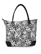 Black And White Floral Print Tote Bag - Moac