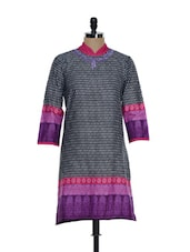 Black Printed Kurti With  Purple Embroidery - Eavan