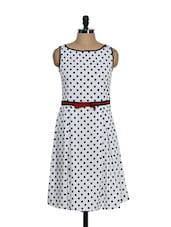 White And Black Polka Dot Dress - Eavan