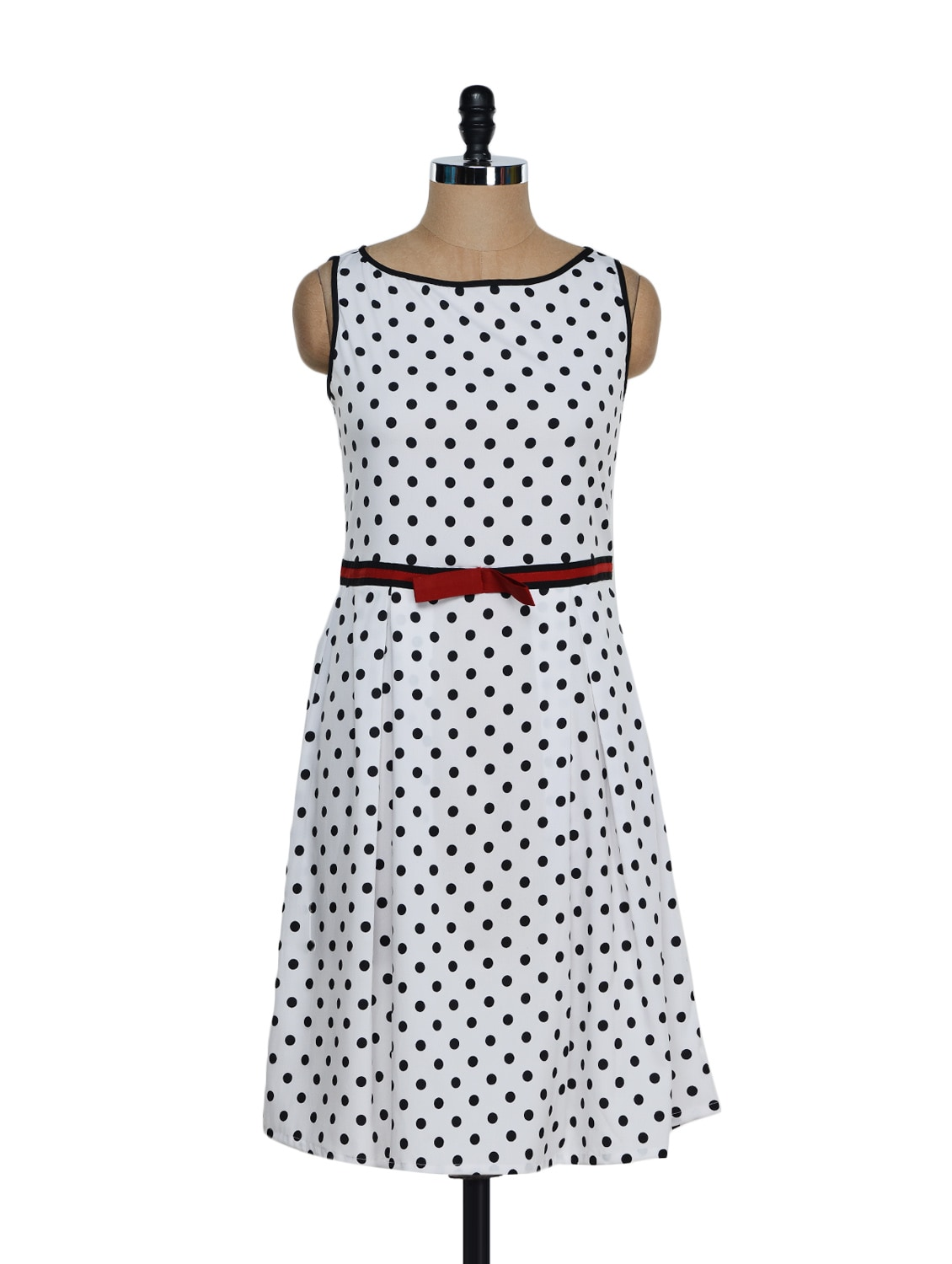 White And Black Polka Dot Dress - Eavan