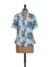 White Roll-up Sleeved Cotton Top With Blue Floral Prints - Being Fab