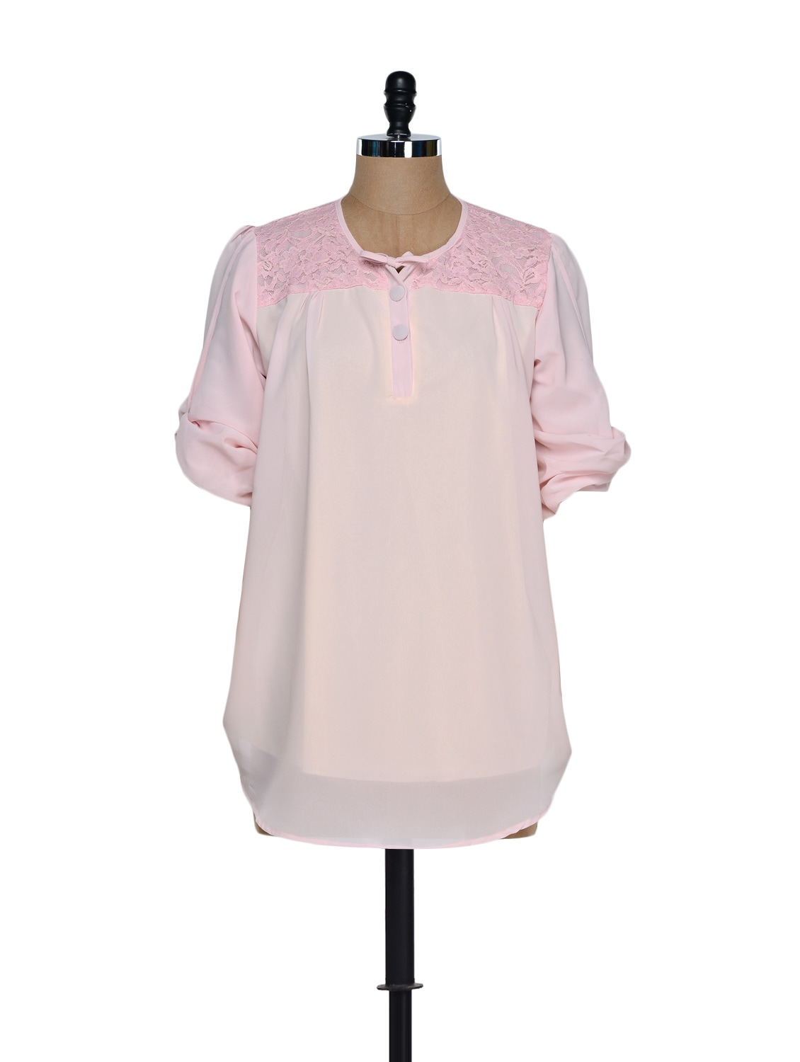 Trendy Baby Pink Georgette Top With A Bow Trim - Being Fab