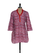 Red And White Printed Kurti - Needle Value