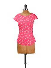 Pink And White Polka Dot Top - CHERYMOYA