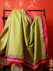 Off-white And Red Chanderi Silk Saree - RiniSeal