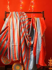 Red And Grey Vertical Striped Saree - RiniSeal