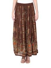 Jaipuri Cut Brown Maxi Skirt - Ruhaan's
