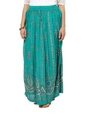 Jaipuri Print Blue Maxi Skirt - Ruhaan's