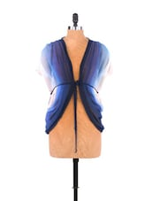 Blue & White Ombre Georgette Tied Shrug - Free Spirited