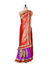 Red And Purple Jacquard Saree With Zari Embroidery,  With A Matching Blouse Piece - Saraswati