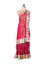 Bright Pink And Red Viscose And Net Sari With Prints And Thread Work, With A Matching Blouse Piece - Saraswati