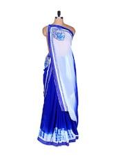 Blue And White Art Silk Saree, With Matching Blouse Piece - Saraswati