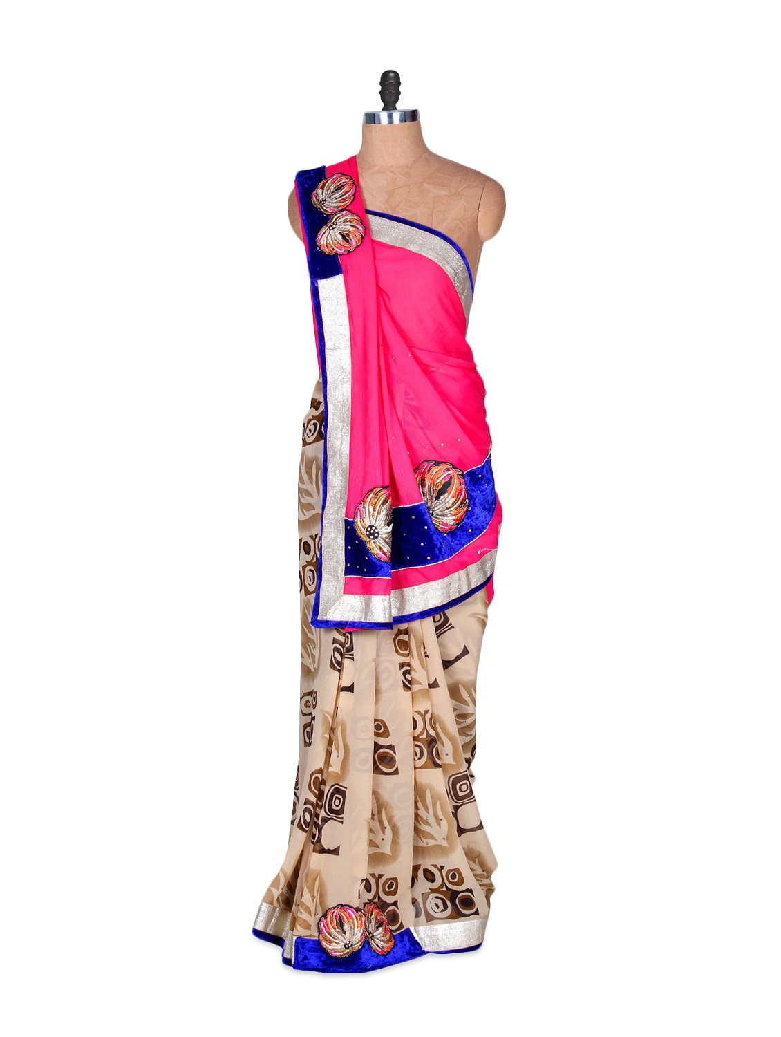 Pink And Beige Art-silk Saree With Brown Prints, With Matching Blouse Piece - Saraswati