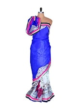 Blue And White Art Silk Saree With Pink Prints, With Matching Blouse Piece - Saraswati